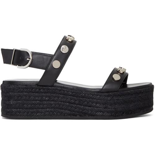 VERSACE Black Flatform Espadrille Sandals