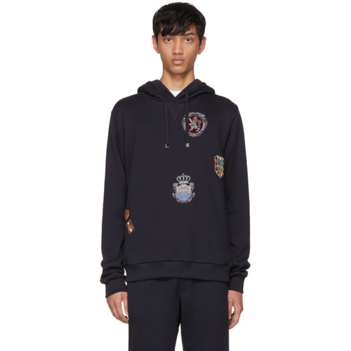Navy Embroidered Crest Hoodie