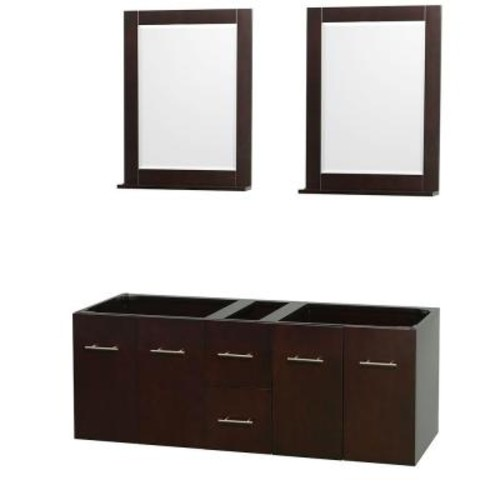 Wyndham Collection Centra 59 in. Double Vanity Cabinet with Mirror in Espresso