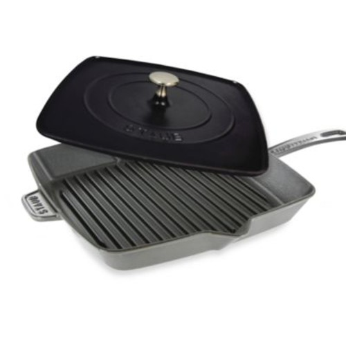 Staub 12-Inch Grill Pan and Press Combo in Graphite Grey