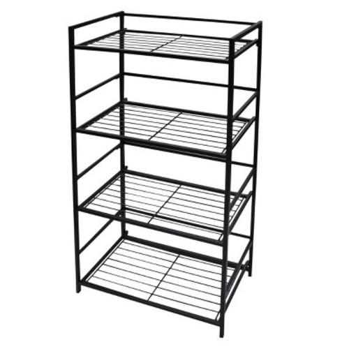 Flipshelf 12 in. x 26.5 in. x 43 in. Black 4 Shelf Wide Unit