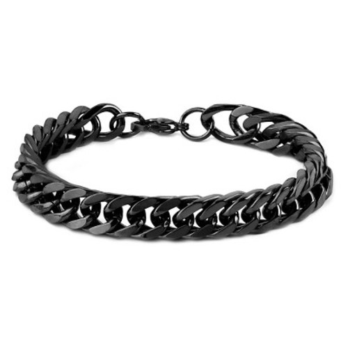 Men's West Coast Jewelry Blackplated Stainless Steel 8-Inch Curb Link Chain Bracelet