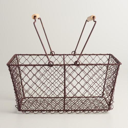 Rectangular Rustic Wire Basket