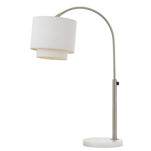 AF Lighting Arched 23 in. Nickel Table Lamp with Fabric Shade