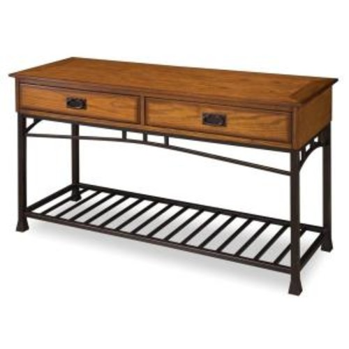 Home Styles Modern Craftsman Distressed Oak and Bronze Metallic Storage Console Table