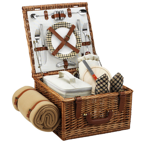 Picnic at Ascot Cheshire English-Style Willow Picnic Basket with Service for 2 and Blanket - London Plaid [Wicker with London Plate/Napkin]