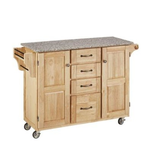 Create-a-Cart Natural Kitchen Cart With Salt & Pepper Granite Top