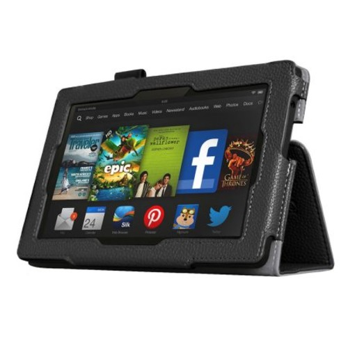 Black Double-Fold Folio Case for Kindle Fire HD 7