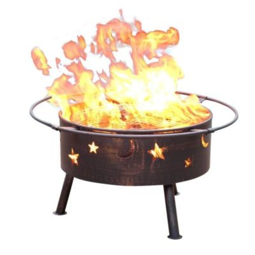 Jeco 32 in. Golden Brush Starlight Steel Fire Pit