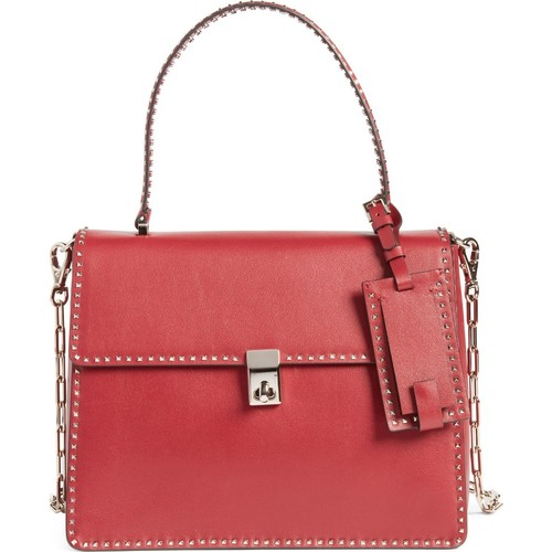 VALENTINO GARAVANI Rockstud Calfskin Leather Single Handle Shoulder Bag