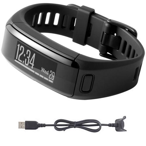 Garmin vivosmart HR Activity Tracker Regular Fit Black Charging Cable Bundle