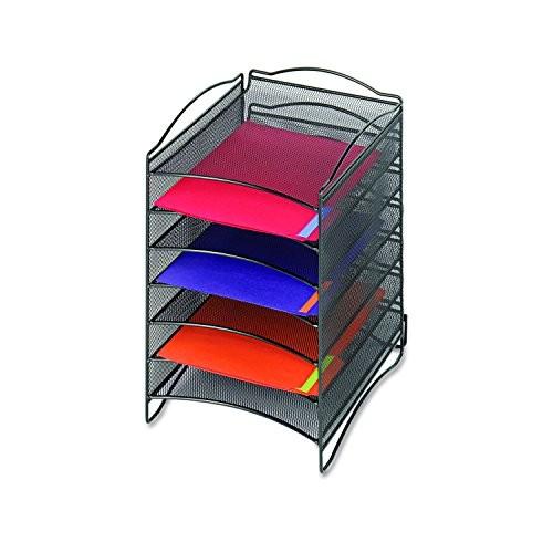 Safco Products 9431BL Onyx Mesh Literature Organizer, 6 Compartment, Black [6 Compartment]