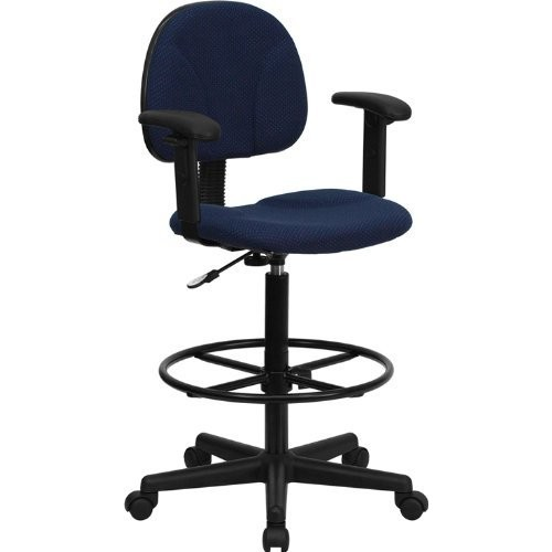 Flash Furniture Navy Blue Patterned Fabric Drafting Chair with Adjustable Arms (Cylinders: 22.5''-27''H or 26''-30.5''H)