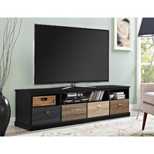 Ameriwood Home Avenue Greene Mercer 65 inch Black TV Console with Multicolored Drawer Fronts