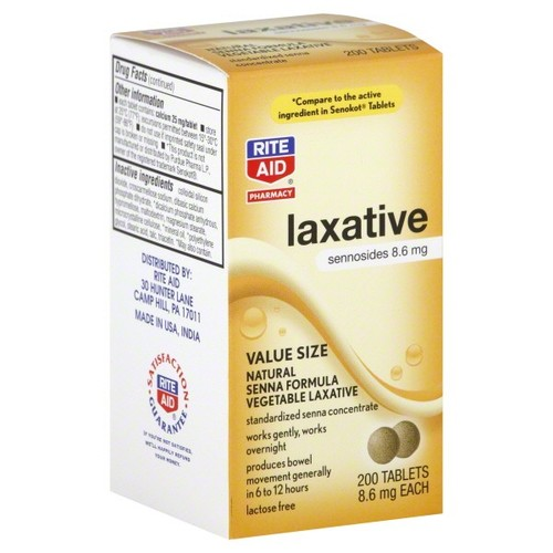 Rite Aid Pharmacy Vegetable Laxative, Senna Formula, Tablets, Value Size, 200 tablets