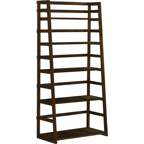 Simpli Home - Acadian Ladder Shelf - Dark Tobacco Brown Stain