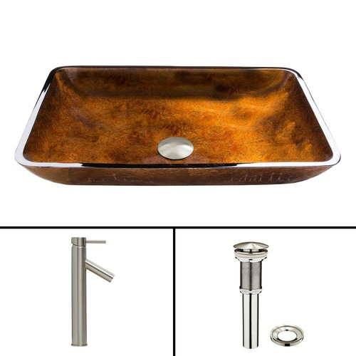 VIGO Glass Vessel Sink in Russet and Dior Faucet Set in Brushed Nickel