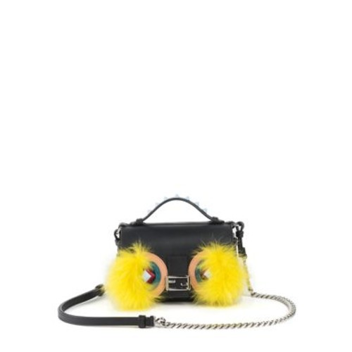 FENDI Micro Studded Leather, Snakeskin & Fox Fur Buggie Baguette