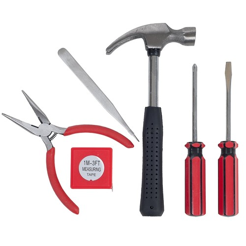 Household Hand Tools, Tool Set - 6 Piece by Stalwart, Set Includes  Hammer, Screwdriver Set, Pliers