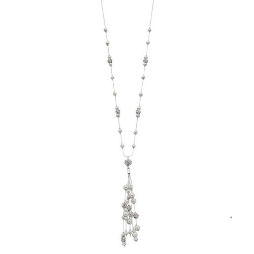 Simulated Pearl Tassel Pendant Necklace
