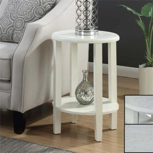 Convenience Concepts Seville Oval End Table in White