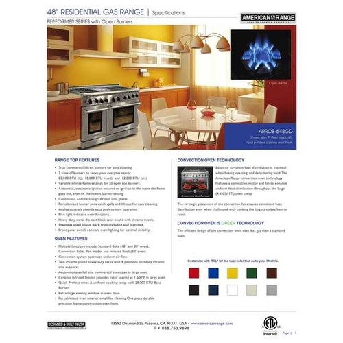 American Range 48 inch Performer 6 Open Burners and a Griddle Gas Range [option : Natural Gas]
