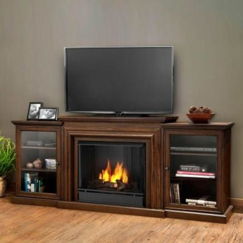 Real Flame Frederick Entertainment 72 in. Media Console Ventless Gel Fuel Fireplace in Chestnut Oak