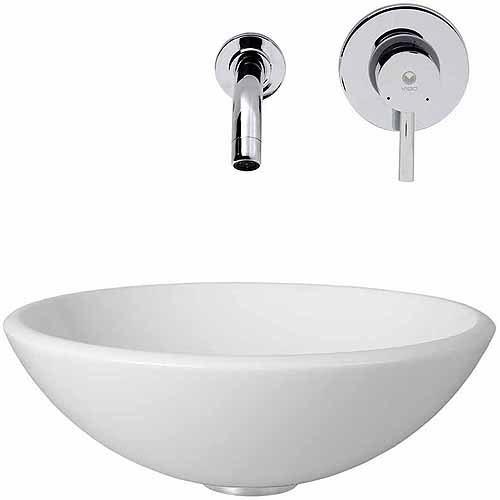 Vigo White Phoenix Stone Glass Vessel Sink with Chrome Wall Mount Faucet