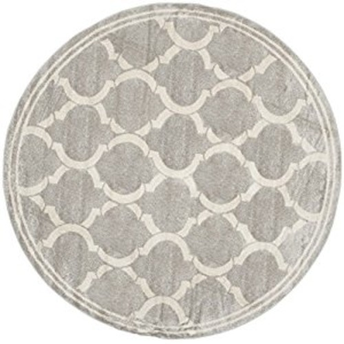 Safavieh Amherst Collection AMT415B Light Grey and Ivory Indoor/ Outdoor Round Area Rug