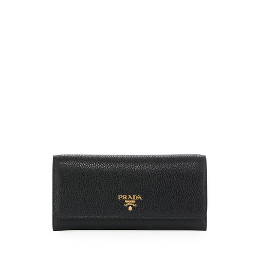 PRADA Pebbled Leather Continental Wallet W/ Id Holder