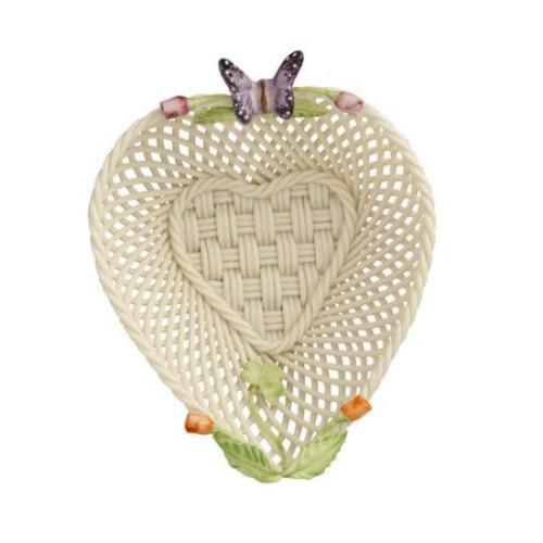 Belleek Rose Bud Heart Basket