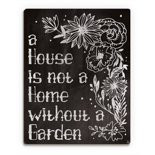 'Home with a Garden Chalkboard' Wood Wall Art
