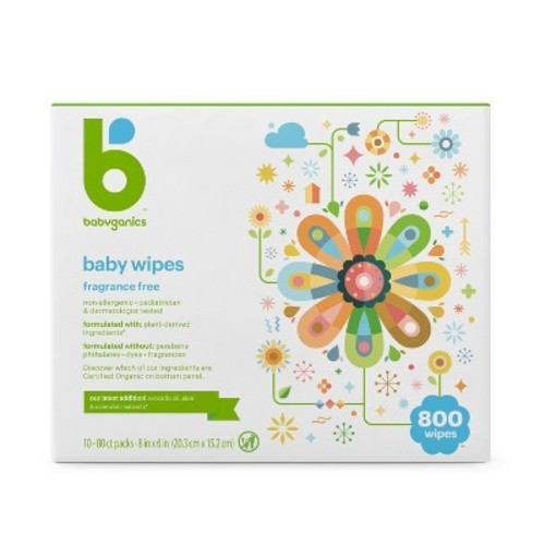 Babyganics Face, Hand & Baby Wipes, Fragrance Free - 800 ct