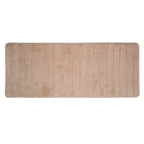 Lavish Home Taupe 24.25 in. x 60 in. Memory Foam Striped Extra Long Bath Mat