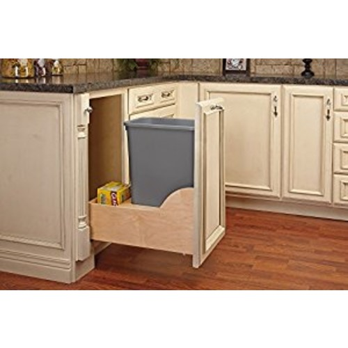 Rev-A-Shelf - 4WCSC-1550DM-1 - Single 50 Qt. Pull-Out Bottom Mount Wood and Silver Waste Container with Soft-Close Slides: Home & Kitchen