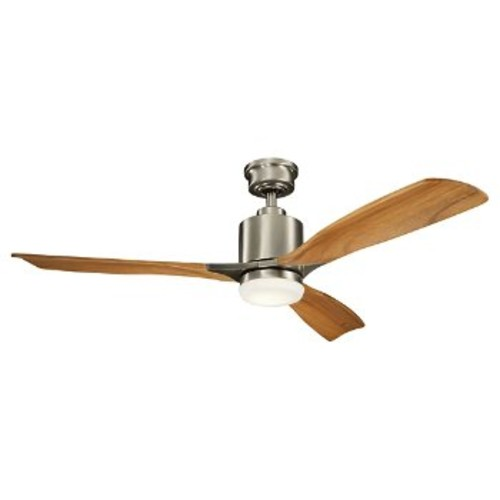 Ridley II Ceiling Fan [Fan Body and Blade Finish : Brushed Stainless Steel with Medium Oak blades]