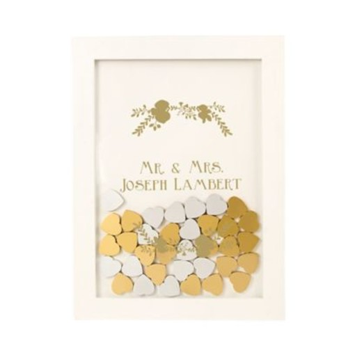 Cathy's Concepts Gold Heart Drop Guest Book in White
