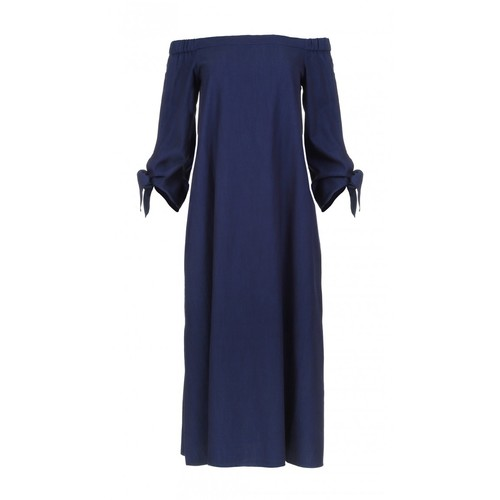 TIBI Washed Indigo Off-The-Shoulder Dress