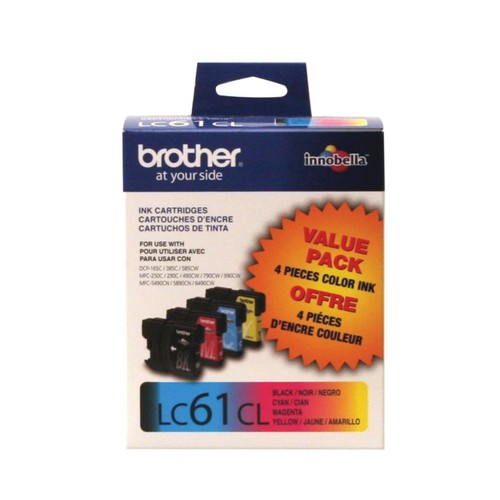 Brother LC61 Black/Color Ink Cartridges, Pack Of 4