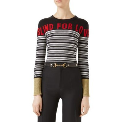 GUCCI Blind For Love Striped Cashmere & Silk Sweater