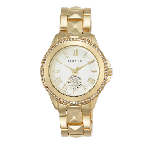 Attention Ladies Goldtone Bracelet with White Dial and Crystals Watch