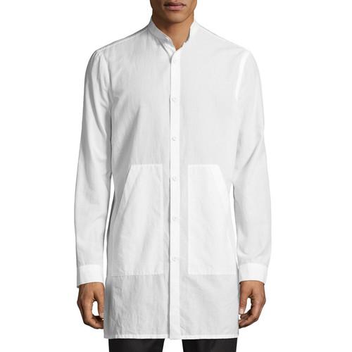 HELMUT LANG Mandarin-Collar Long-Line Shirt