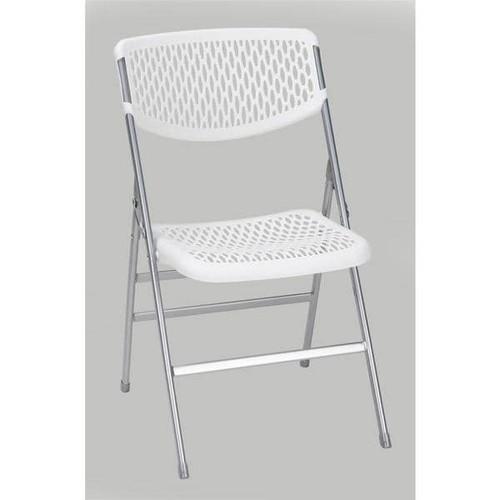 COSCO Commercial Resin Mesh Folding Chair (Set of 4) [Finish : White Finish]