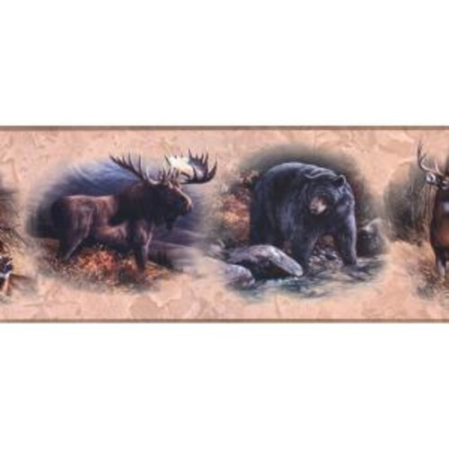 York Wallcoverings Lake Forest Lodge North American Animal Wallpaper Border