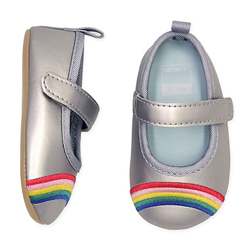 carter's Size 0-3M Rainbow Mary Jane Shoe in Silver