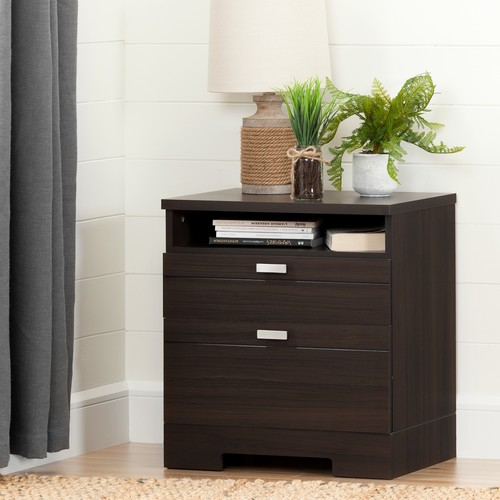 South Shore Reevo Nightstand with Drawers and Cord Catcher