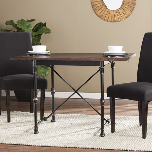 SEI Theodore Drop-Leaf Dining Table - Weathered Umber with Rustic Black