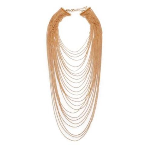 Multi-Row Draped Ball Chain Necklace
