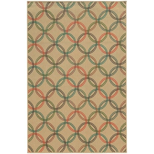Style Haven Interlocking Circles Beige Indoor/Outdoor Area Rug - 8'6 x 13'