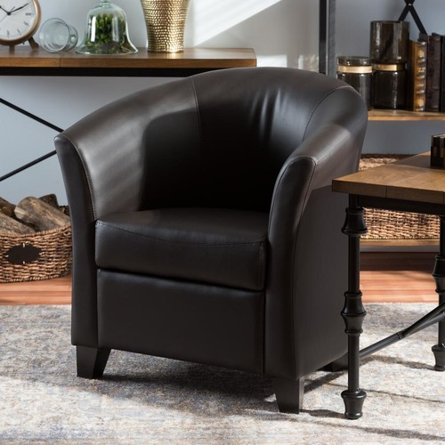 Baxton Studio Anderson Dark Brown Faux Leather Upholstered Accent Chair